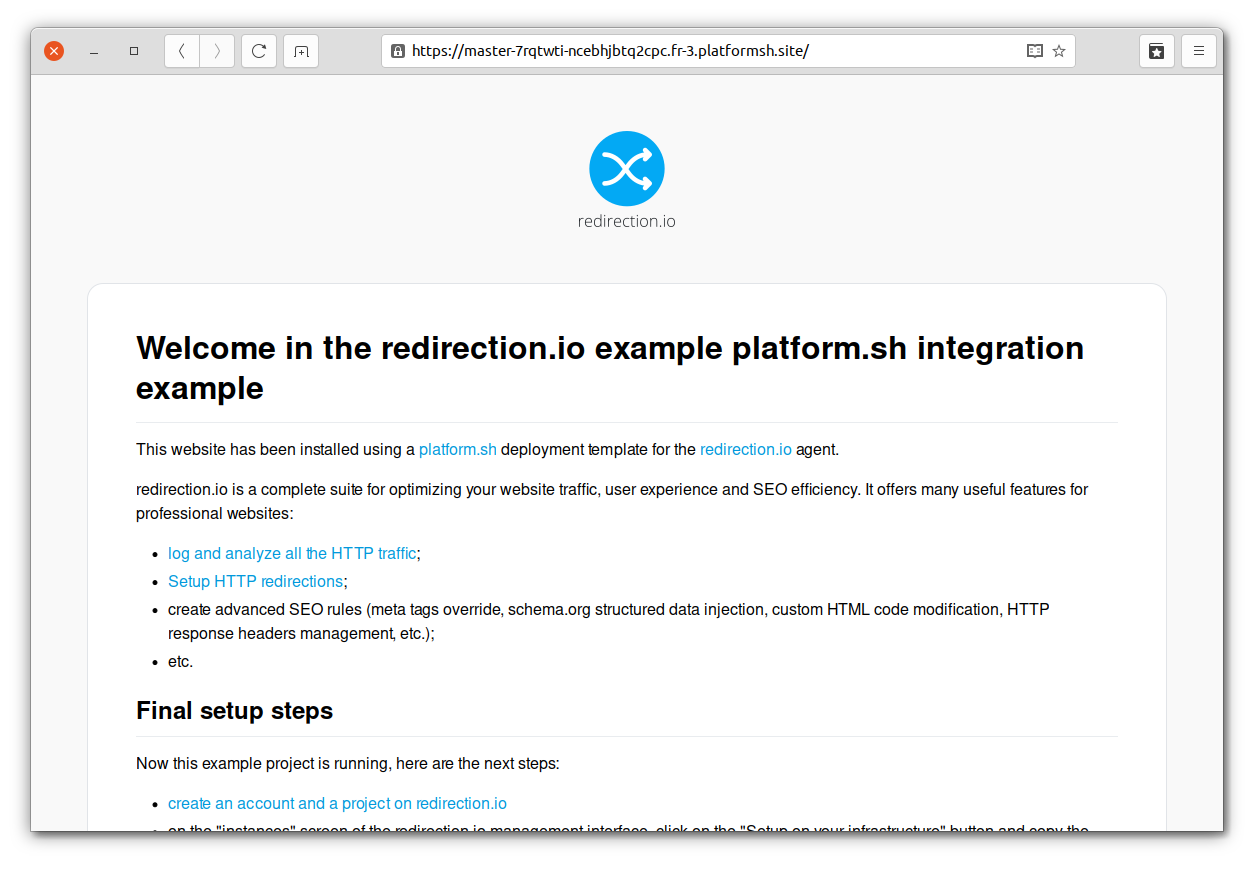 A platform.sh project based on the redirection.io template