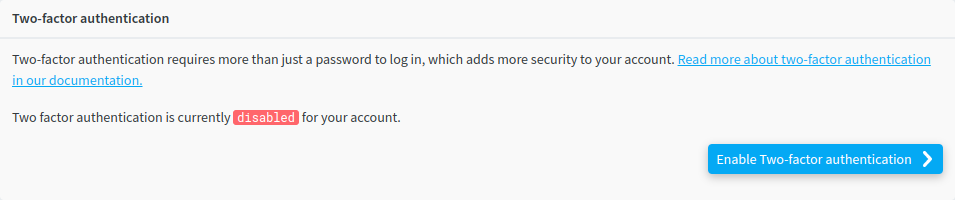 Two factor authentication disabled